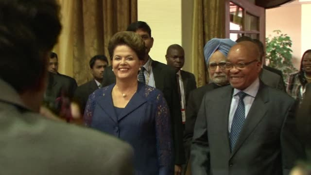 vídeos de stock, filmes e b-roll de the leaders of the emerging economies of india brazil and south africa meet to discuss trade and investment opportunities in a summit dominated by... - newly industrialized country