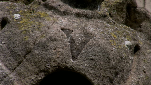 The letter V is inscribed into stone at Rushton Triangular Lodge in Northamptonshire, England. Available in HD.