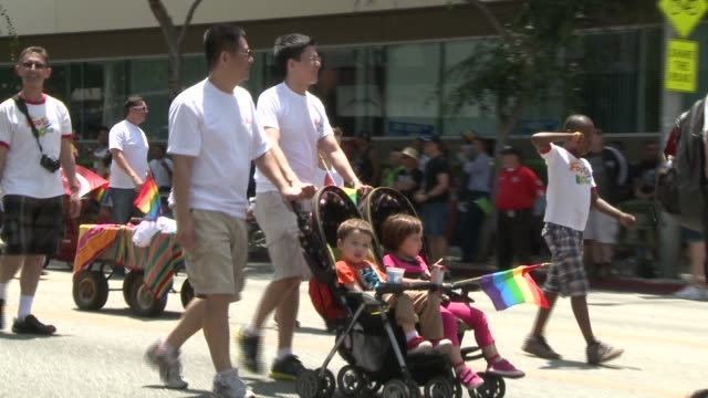 the lgbt community of los angeles in all their glory representing all facets gay pride parade at parade on june 09 2013 in los angeles california - darstellen stock-videos und b-roll-filmmaterial