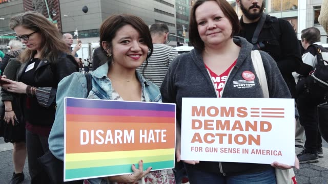 the lgbtq group gays against guns nyc rallied in union square and marched to times square in response to the las vegas massacre hundreds marched... - controllo delle armi da fuoco video stock e b–roll