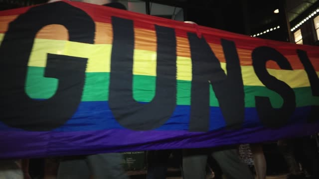 the lgbtq group gays against guns nyc rallied in union square and marched to times square in response to the las vegas massacre hundreds marched... - union square new york city stock videos and b-roll footage
