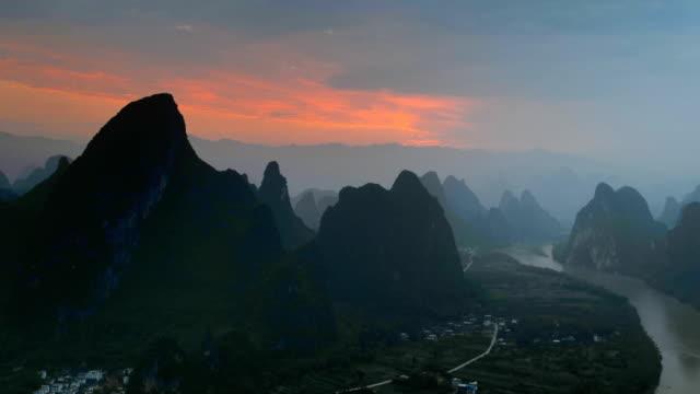the li river morning glow - li river stock videos & royalty-free footage