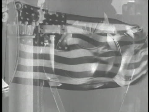 the liberty bell rings as an american flag waves - liberty bell stock videos & royalty-free footage