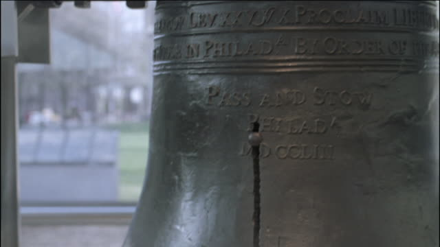 the liberty bell stands in monument park in philadelphia. - liberty bell stock videos & royalty-free footage