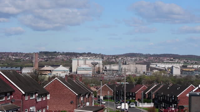 the liberty steel group high value manufacturing plant with residential houses in foreground in stockbridge, uk on tuesday, april 6, 2021. - metal industry stock videos & royalty-free footage