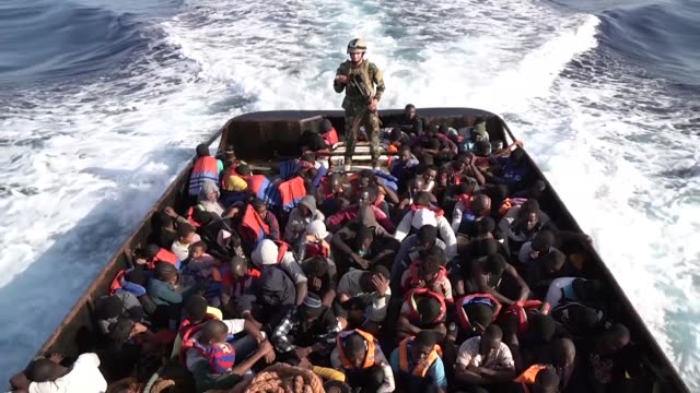 the libyan coastguard has rescued tuesday morning 147 african migrants attempting to reach europe - az zawiyah stock videos & royalty-free footage