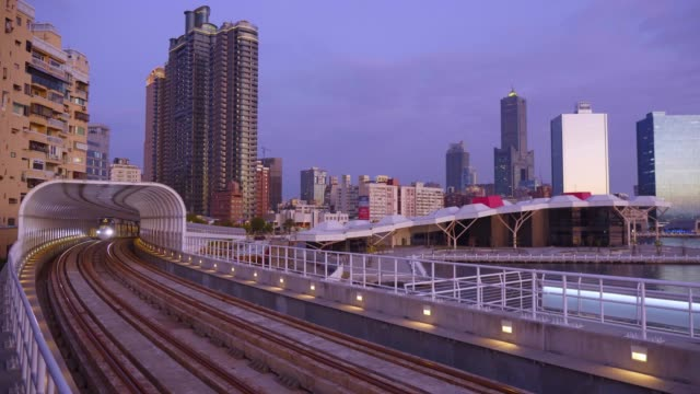 the light rail system in kaohsiung is the first light rail transit in taiwan - tram stock videos & royalty-free footage