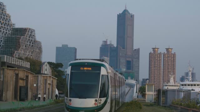 the light rail system in kaohsiung is the first light rail transit in taiwan. - monorail stock videos & royalty-free footage
