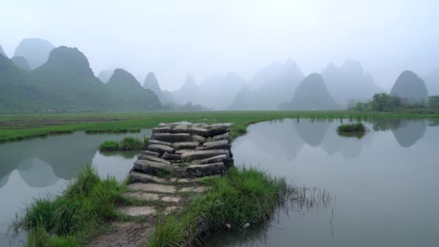 the lijiang river in rainy - li river stock videos & royalty-free footage