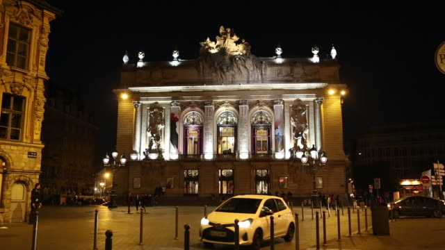 the lille opera building at night - lille stock videos & royalty-free footage