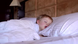 The little boy is sleeping in the bed.