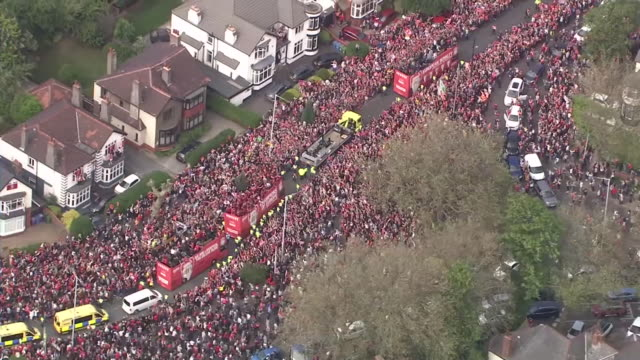 the liverpool champions league victory parade moving through liverpool - liverpool england stock videos & royalty-free footage