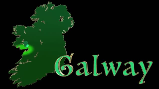 the location of galway indicated with a map pin - johnfscott video stock e b–roll