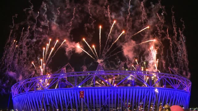 the london 2012 games bade farewell sunday with a giant singalong party, bringing the curtain down in spectacular style on an olympics that has... - 2012 stock videos & royalty-free footage