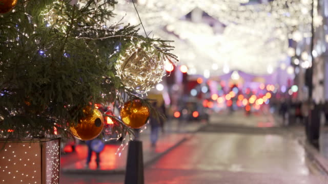 the london christmas lights and christmas tree on lower regents street - season stock videos & royalty-free footage