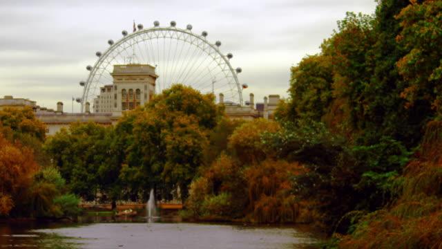 the london eye from saint james park - ロンドン区点の映像素材/bロール