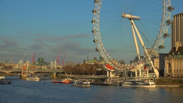 the london eye, london, england, great britain - london millennium footbridge stock videos and b-roll footage