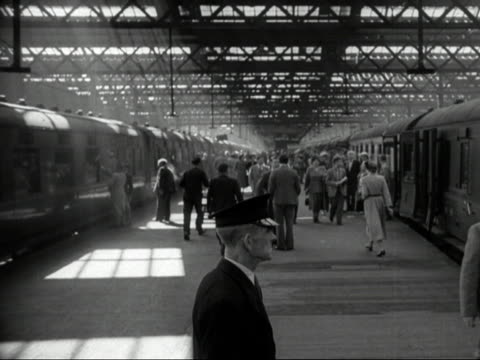 the london to liverpool train prepares to leave euston station - 1949 stock videos and b-roll footage