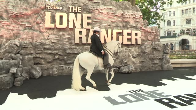 atmosphere the lone ranger uk premiere at odeo at odeon leicester square on july 21 2013 in london england - the lone ranger 2013 film stock videos and b-roll footage