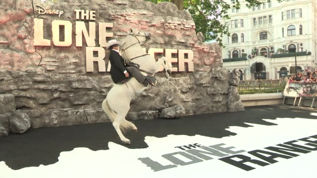 atmosphere the lone ranger uk premiere at odeon leicester square on july 21 2013 in london england - the lone ranger 2013 film stock videos and b-roll footage