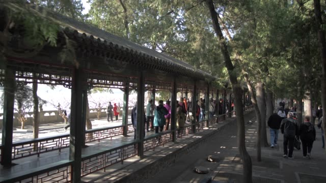 the long corridor (chang lang) in the summer palace, unesco world heritage site, beijing, people's republic of china, asia - summer palace beijing stock videos & royalty-free footage