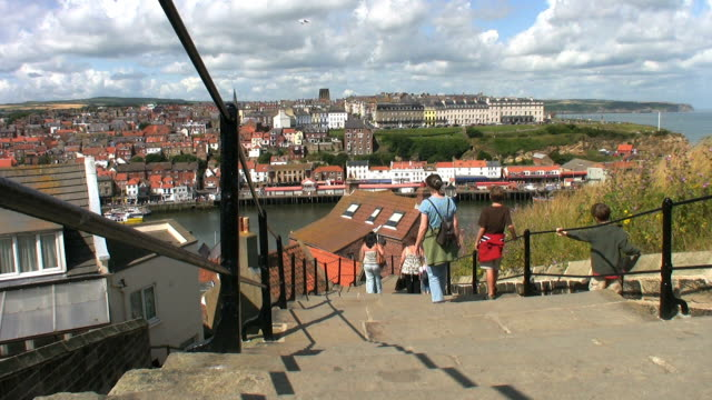the long flight of steps leading from the abbey. - whitby north yorkshire england stock videos & royalty-free footage
