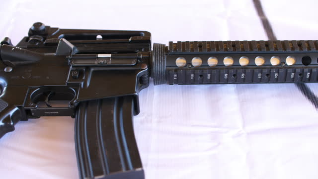 the long gun weapon ready for shoot, 4k - m16 stock videos & royalty-free footage