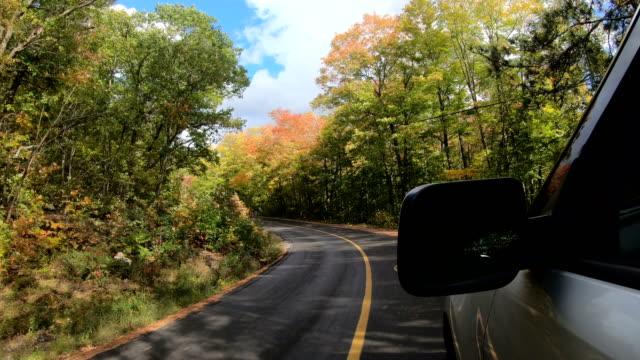 the long rural autumn road corridor - ontario canada stock videos & royalty-free footage