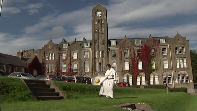 'The Lord's Player' The football star who became a priest NORTHERN Various of Father Philip Mulryne doing keepy uppies with football
