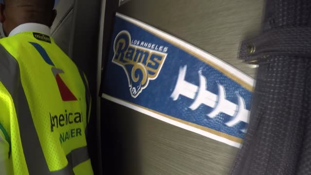 ktla the los angeles rams departs from lax - super bowl stock videos & royalty-free footage