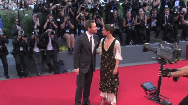 The lovely couple Michael Fassbender and his girlfriend the beautiful Alicia Vikander on the red carpet for the Premiere of The light between oceans...