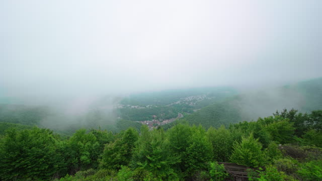 The low clouds and rain in the Pocono Mountains over Jim Thorpe town, Pennsylvania, Carbon County. Timelapse accelerated video.