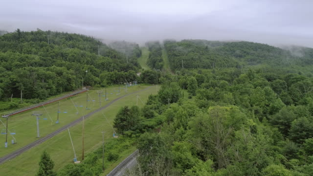 The low clouds over mountains in Poconos, Appalachian, Pennsylvania, Carbon County, USA.