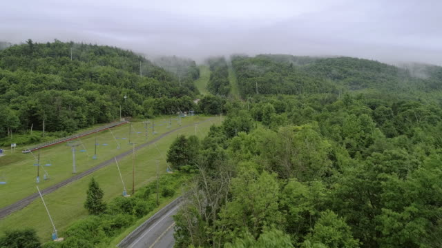 The low clouds over mountains in Poconos, Appalachian, Pennsylvania, Carbon County, USA. Accelerated TIme Laps style video.