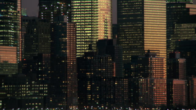 a cu of the lower manhattan skyline at dawn - in front of stock videos & royalty-free footage