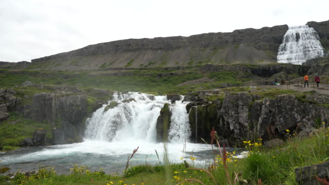 the lower waterfall, dynjandi (aka fjallfoss) waterfall, westfjords - north atlantic ocean stock videos & royalty-free footage