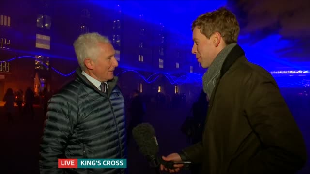 The Lumiere light festival officially opens in London ENGLAND London King's Cross Peter Freeman LIVE interview SOT LIVE Reporter to camera