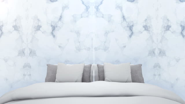 the luxury bedroom and marble wall background - cuscino biancheria da letto video stock e b–roll