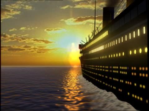 the luxury liner rms titanic sails toward the setting sun. - タイタニック号点の映像素材/bロール