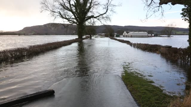 the lyth valley flooded by storm desmond, cumbria, uk. - flood stock videos & royalty-free footage
