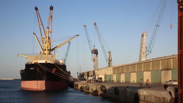the maersk line, one of the largest shipping companies in the world, is expected to start serving to somalia's mogadishu port, according to the... - port said stock videos & royalty-free footage
