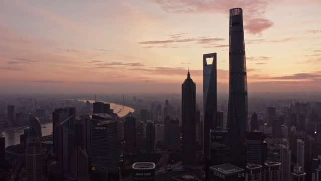 the magnificent sunrise glow over shanghai city - shanghai stock videos & royalty-free footage