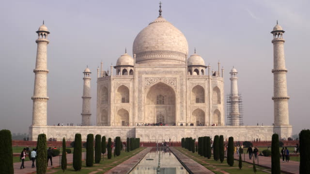 the magnificient taj mahal in india, one of the wonders of the world - taj mahal stock videos and b-roll footage