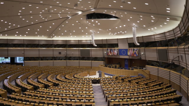 The main Assembly room at the European Parliament, Brussels, Belgium.
