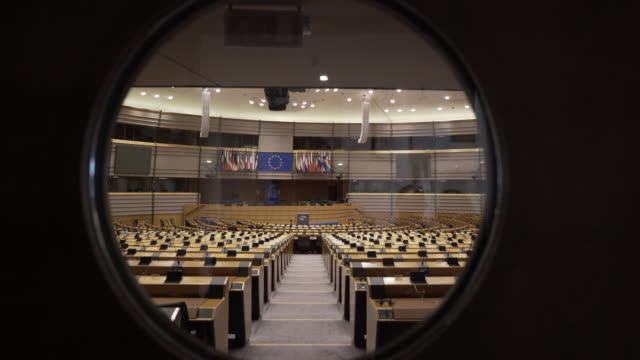 stockvideo's en b-roll-footage met the main assembly room at the european parliament, brussels, belgium. - brexit
