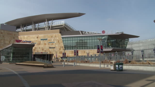 the main entrance and facade of target field, which opened in 2010, the home of the minnesota twins  - hall of fame stock videos and b-roll footage