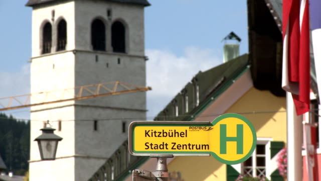 the main shopping street in the ski resort of kitzbuhel - traditionally austrian stock videos and b-roll footage