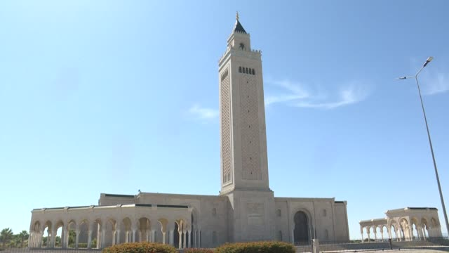 the malek ibn anas mosque in carthage east of the capital tunis opens its doors for muslim worshippers on the first day of eid alfitr the holiday... - carthage tunisia stock videos & royalty-free footage