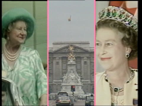 the mall and buckingham palace zoom in palace dissolves to screen split into 3 vertically prince philip/buckingham palace/queen prince philip changes... - prince edward, earl of wessex stock videos & royalty-free footage