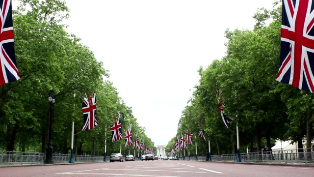 The Mall, London lined with Union Flags